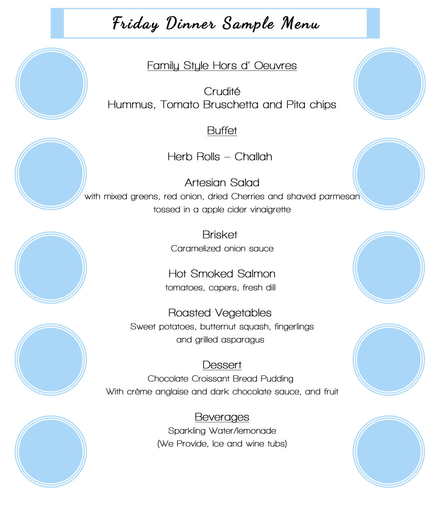 Friday Dinner Sample Menu